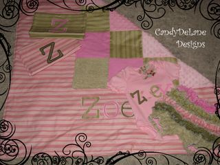 Newborn set Zoey burp cloths patchwork blanket applique onsie with rosette and deluxe bloomers sage and pink