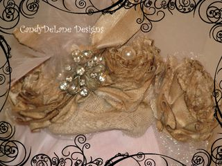 Triple rosette deluxe vintage with lace feather net vintage satin cream headband