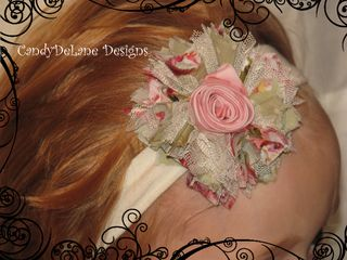 Pink and sage tattered rosette headband