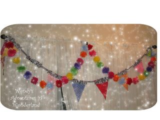 Multi pom pom with bunting on window 1