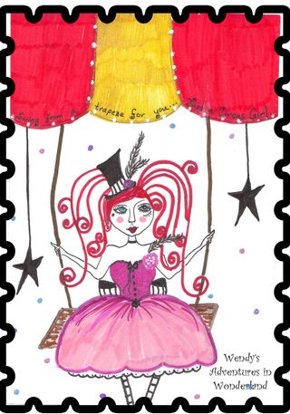 Circus girl on trapeze for postcard small