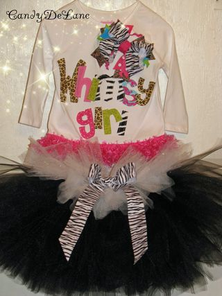 Whimsy girl shirt with Zebra tutu 005c