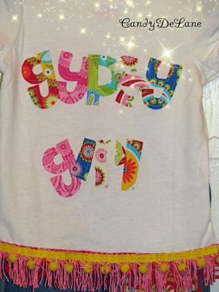Gypsy girl shirt with decoupage jeans 003c